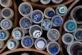 Blå knapper 7 bl.a. cykel, katte, bamser, biler.