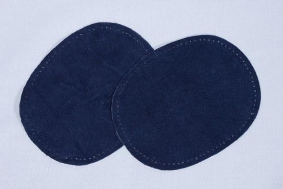 Blå, ovale lapper i ægte skind 2 stk