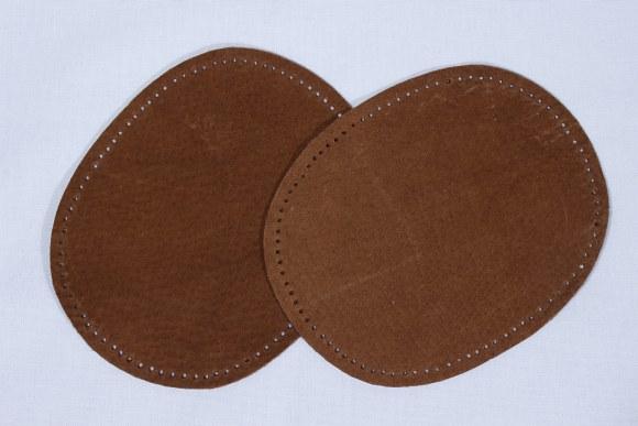 Brune ovale lapper i ægte skind 2 stk