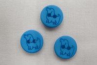 Knap med hund 1,5 cm blå