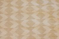 Sand og off white bomuld/polyester i stor bredde, 5 cm mønster