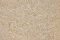 Sand og off white bomuld/polyester, i stor bredde, 5 cm stjerner