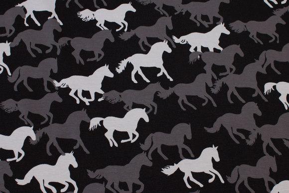 Sort bomuldsjersey med heste i grå nuancer