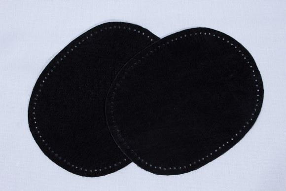 Sorte, ovale lapper i ægte skind 2 stk
