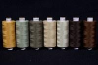 Syntetisk sytråd i standardkvalitet, brunlige farver, 1000 m