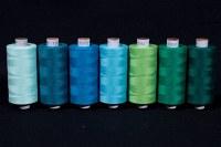 Syntetisk sytråd i standardkvalitet, grøn-blå farver, 1000 m