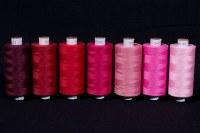 Syntetisk sytråd i standardkvalitet, røde farver, 1000 m