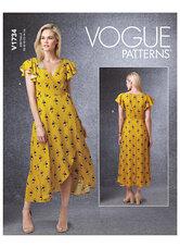 Slå-om kjoler med bindebånd, ærme og længde variationer. Vogue 1734.