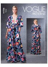 Dyb-v kimono-style kjoler med selv-binding. Vogue 1735.