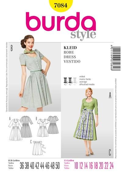 Kjole med knapper og korte eller lange ærmer