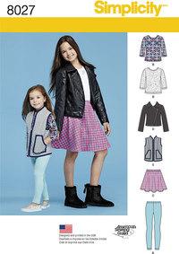 Simplicity 8027. Bluser, jakke, nederdel, bukser.