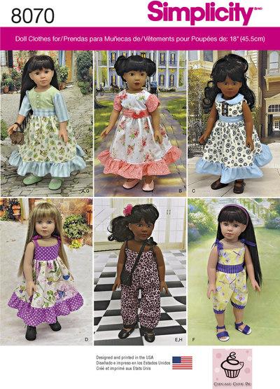 Vintage 45 cm dukke tøj, klassiske kjoler