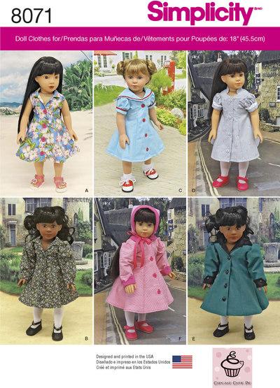 Klassisk dukketøj, kjoler, frakker