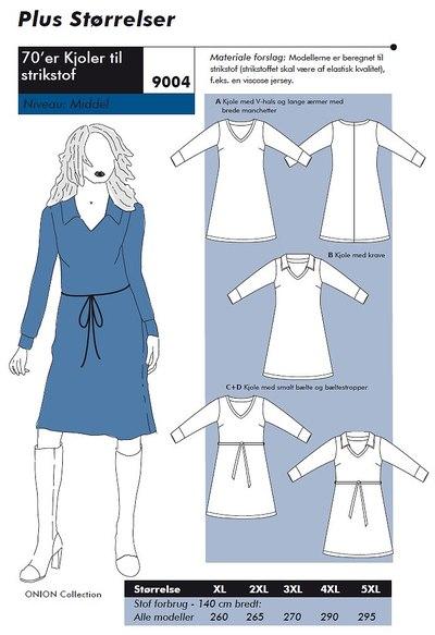 70er kjoler i store størrelser til strikstof