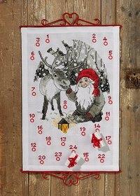 Permin 34-9655. Julepakkekalender Nisse og rensdyr.
