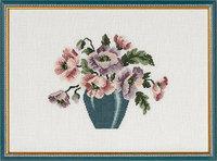 Vægbroderi Vase med blomster. Permin 70-9584.