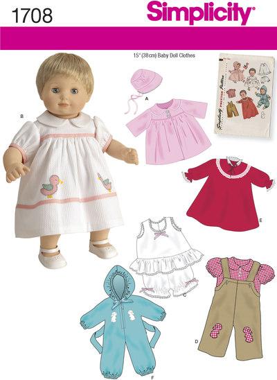Klassisk dukketøj, 37 cm dukke, frakke, kjole, overalls m.m.