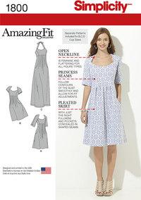 Kjole med stroppe, læg i midtersektion. Simplicity 1800.