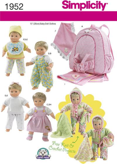 Dukketøj, hat, sko, barnestørrelse rygsæk