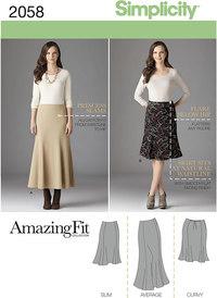 Slank, figursyet nederdel. Simplicity 2058.