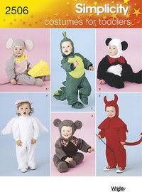 Børneudklædning som kanin, bjørn, skildpadde, djævel. Simplicity 2506.