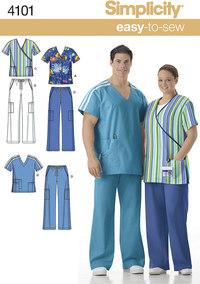 Unisex uniform, scrub toppe og bukser. Simplicity 4101.