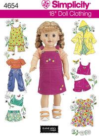 Dukketøj 45 cm, smækbukser, frakker, shorts, kjoler. Simplicity 4654.