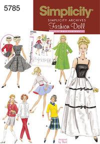 Dukketøj, 1960er tøj, 29 cm dukke. Simplicity 5785.