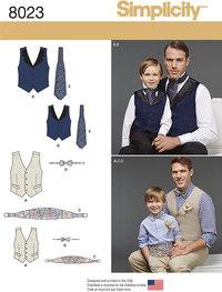 Vest og slips til mand og barn. Simplicity 8023.