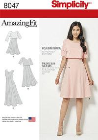 Kjoler med slankt, normalt og kurvet snit. Simplicity 8047.