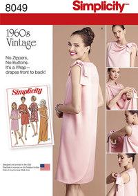 Vintage 1960 kjoler med ærmehulsdesign. Simplicity 8049.