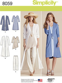 Lange blusecardigans, bukser. Simplicity 8059.