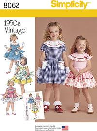 Retro kjoler til piger. Simplicity 8062.