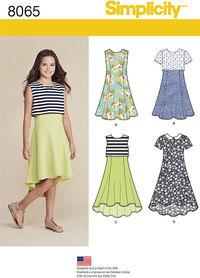 Kjole og popover kjole til piger. Simplicity 8065.