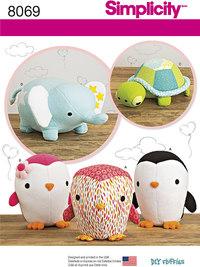 Tøjdyr, pingvin, skildpadde og elefant. Simplicity 8069.