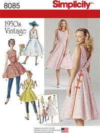Retro 1950 kjole, slå-om, 2 længder. Simplicity 8085.