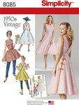 Retro 1950 kjole, slå-om, 2 længder