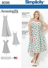 Kjoler i store størrelser med godt fit. Simplicity 8096.