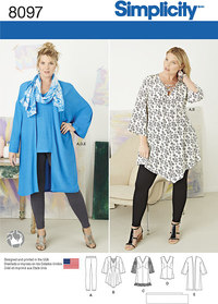 Plus size tunika, top, kimono og strik gamacher. Simplicity 8097.
