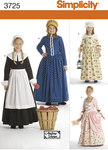 Simplicity 3725. Amish, klassiske kjoler, 1700-1800 tals.