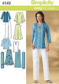 Plus size nederdel, bukser, tunika top og tørklæde. Simplicity 4149.