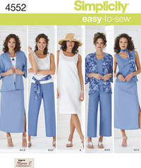 Kimono-jakke, bukser, nederdel, tørklæde. Simplicity 4552.