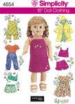 Simplicity 4654. Dukketøj 45 cm, smækbukser, frakker, shorts, kjoler.