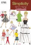 Simplicity 5785. Dukketøj, 1960er tøj, 29 cm dukke.