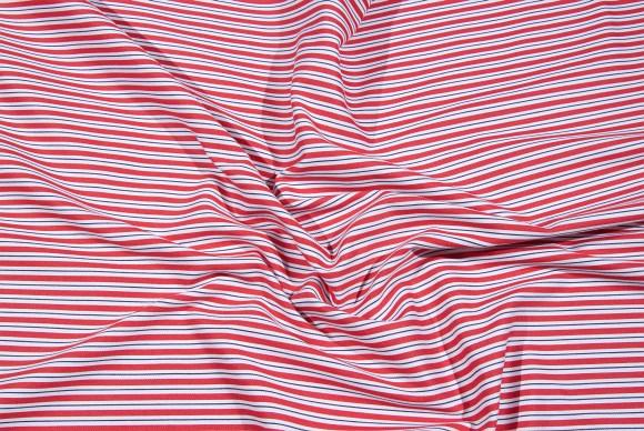 Rød-hvid bomuldstwill med stræk og striber