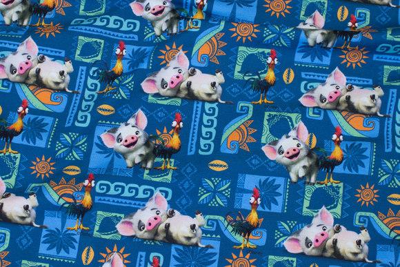 Blå bomuldsjersey med gris og høne fra Vaiana