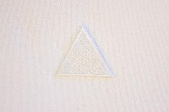 Hvid trekant strygemærke 3cm