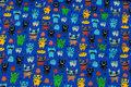 Coboltblå bomuldsjersey med små monstre