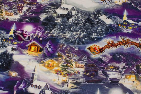 Lilla-blå bomuldsjersey med eventyr-julelandskab