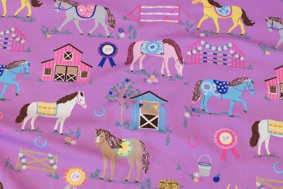 Lyslilla bomuldsjersey med 8 cm heste